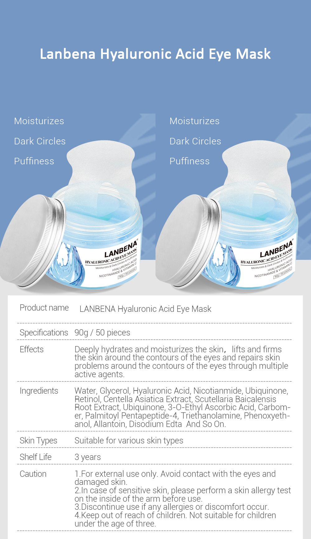 hyaluronic acid puffy eye patches serum