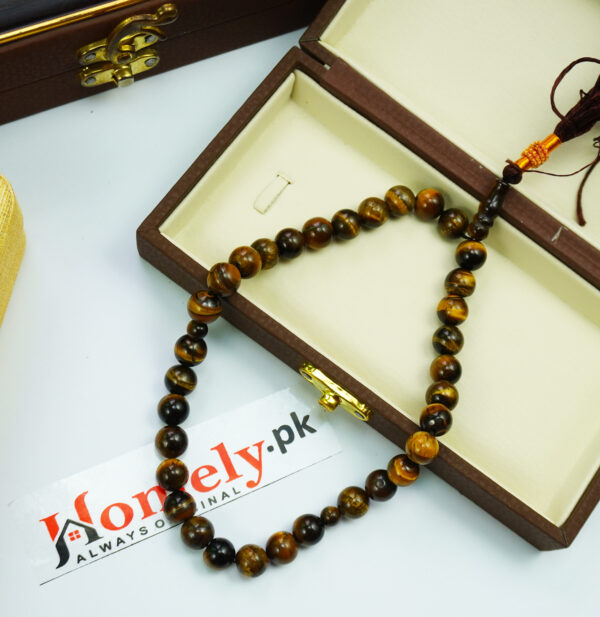 tiger aqeeq tasbih zoomed with box