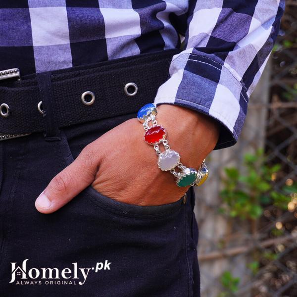 7 agate stone aqeeq-chandi-bracelet
