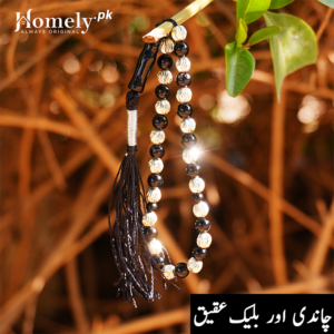 Chandi Black Aqeeq 6 mm Tasbeeh 1 By 1