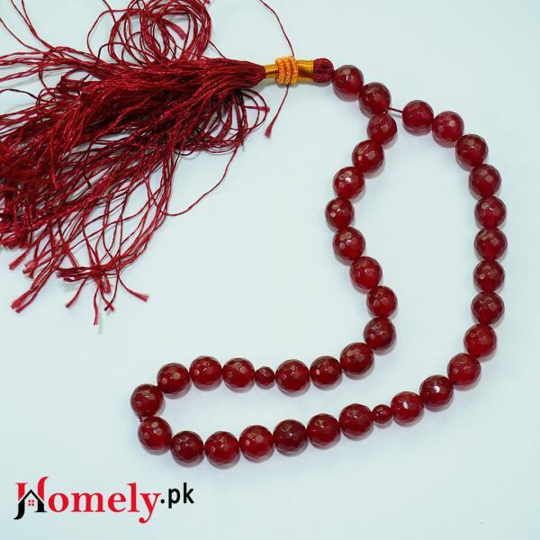 red jade stone tasbeeh