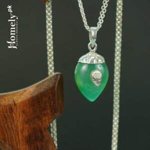 Green Agate With Chandi Cap Without Chain