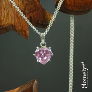 Pink Heart Shape Zircon Locket