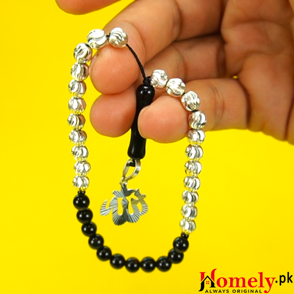 silver with agate prayer beads