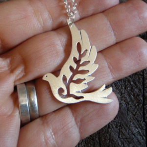 pigeon of peace silver locket