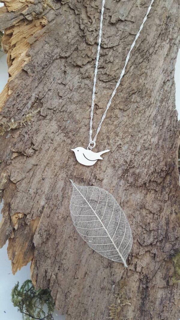 Robin bird locket sterling silver