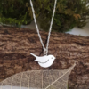 Robin bird locket sterling silver