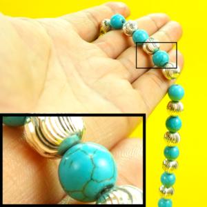 feroza tasbih with silver beads