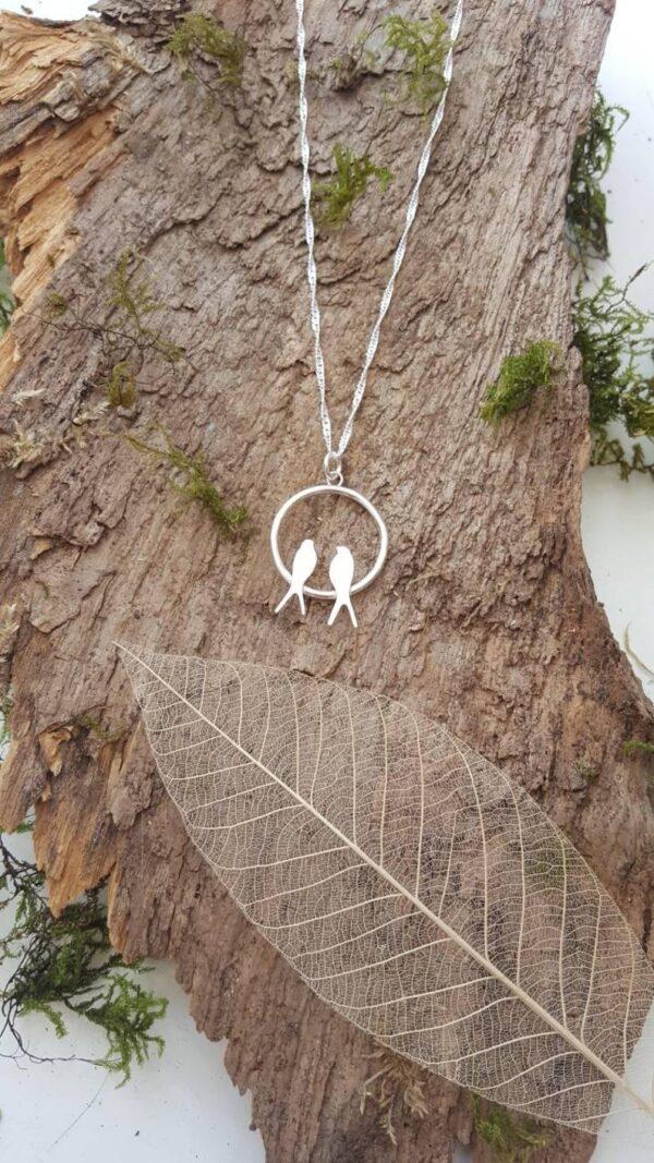 love birds sterling silver locket
