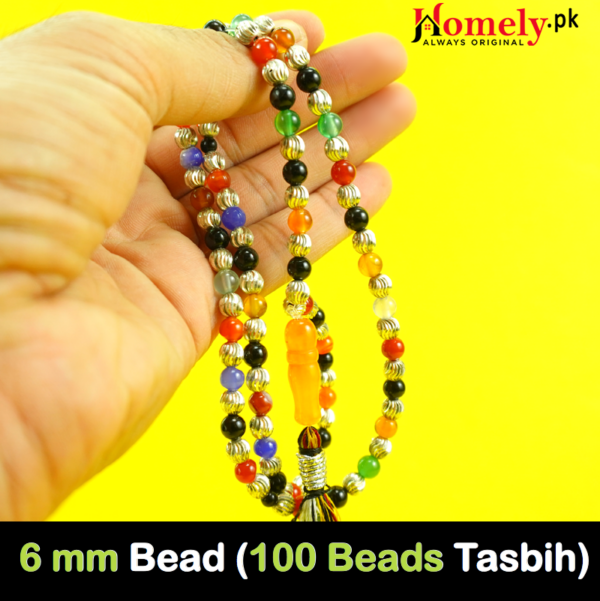 100 beads prayer beads made of silver and aqeeq agate