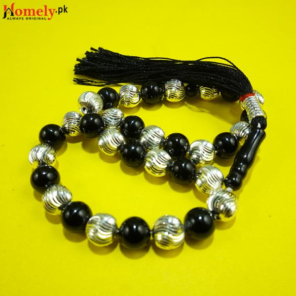 Hybrid-Black-Aqeeq-With-Chandi-Beads-image-2