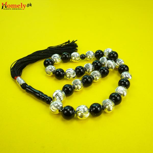 Hybrid-Black-Aqeeq-With-Chandi-Beads-image-7