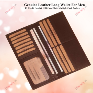Long leather wallet for men