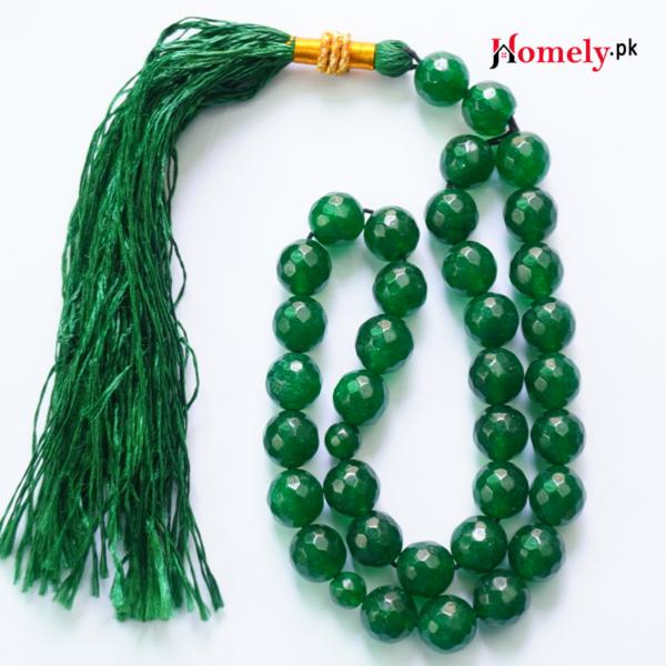 green jade stone tasbeeh